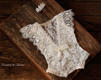 Lace Romper, Baby Photo Prop, Newborn Prop, Photography, Newborn Tieback, Newborn Photo Prop, Baby Girl Outfit, Photo Outfit,