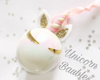 Unicorn christmas bauble / xmas bauble /  hristmas decoration