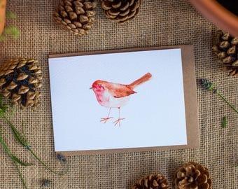 Robin Bird Greeting Card 'Rockin Robin' , A6 card, Robin Bird Illustration.