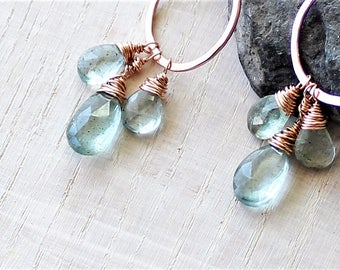 Moss Aquamarine Dangle Earrings, Moss Aquamarine Hoop Earrings, Moss Aquamarine and Rose Gold Filled, March Birthstone, Gift for her