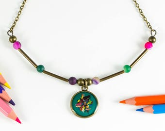 """Teal necklace """"Chromatic"""" of pencil shavings"""
