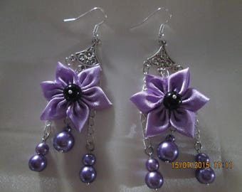 Purple satin flower earring and Black Pearl