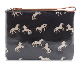 Oilcloth Clutch purse- Zip Pouch bag- horse pattern - Oil cloth strap zip wallet Ladies purse Teenage girl cosmetic beauty case - makeup bag