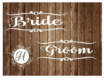 Bride Groom signs  SVG DFX Cut file  Cricut explore file  decal wood signs WEDDINGscrapbook vinyl decal wood sign t shirt cricut cameo