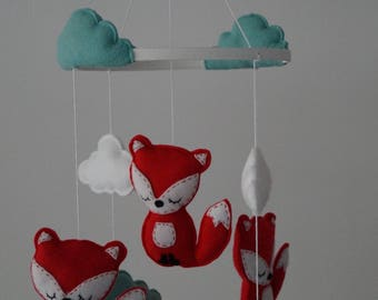 Sleepy woodland baby fox nursery mobile / wall decor,shower gift