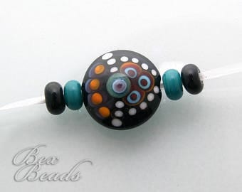 Dots In Contrast lampwork focal bead and spacers