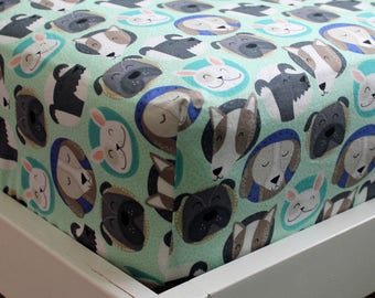 Puppies on Blue Fitted Crib/Toddler Sheets