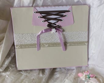 """So pretty"" romantic wedding guest book Pearl Grey and purple 60 pages customizable names and date"