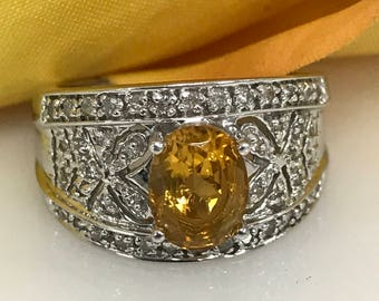 Oval Citrine and Diamond Fashion Ring in 14K White Gold #1672