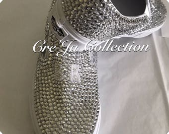 Custom Vans, Bling Vans, Pearl Vans, Rhinestone Vans, Wedding Vans, Bridal Vans, Vans Shoes