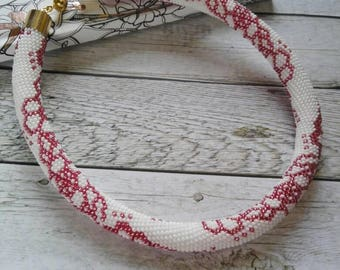 Handmade bead crochet rope necklace, beaded necklace, crochet necklace, flower necklace