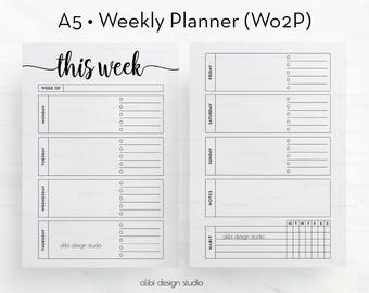 Week on Two Pages, A5 Planner Inserts, Weekly Planner, Undated Planner, Habit Tracker, Printable Planner, Daily Planner, A5 Filofax