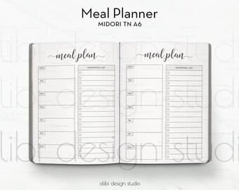 A6 TN, Meal Planner, Travelers Notebook, Meal Insert, Shopping List, Meal Tracker, TN Inserts, Midori, Diet Insert, Bullet Journal