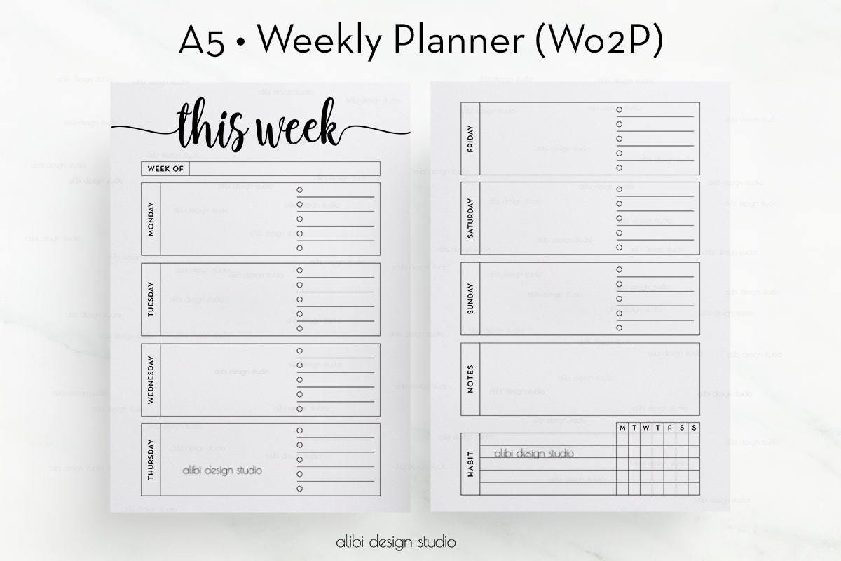 Week on Two Pages A5 Planner Inserts Weekly Planner Undated