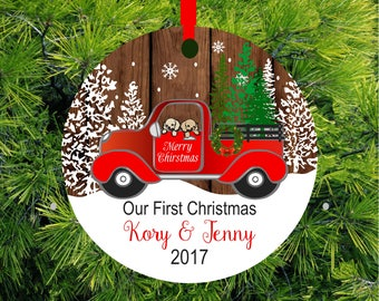 2017 Christmas Ornament Personalized Christmas Ornament Love Birds Wedding Tree Ornament Our First Christmas Ornament Red Truck