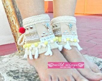 Oxhead Ibiza Ankle Cuffs,ankle bracelet,ankle cuff sandals,Gypsy Cuff Bracelet,Fringe barefoot,Gypsy Bracelet,festival ibiza barefoot,native