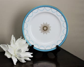 Edwardian Beaux Arts Minton Dinner Plate Turquoise and Gold Decoration Davis Collamore G8732