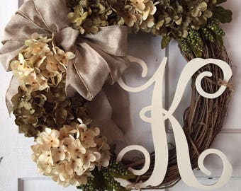 Hydrangea Grapevine Wreath With Burlap Bow