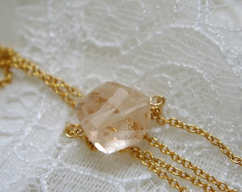 Collier morganite aquamarine faceted form of fantasy gold plated steel cable ready or gold-plated necklace