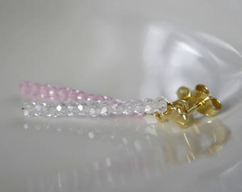 Gold pink and white cubic zirconia diamond imitation earrings gold or gold plated