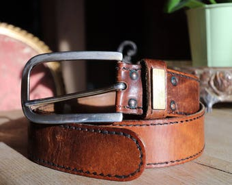 Leather belt vintage Brown Western spirit for Mr or Mrs cowboy unisex leather belt