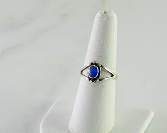 Petite Sterling Turquoise Ring Size 7.75