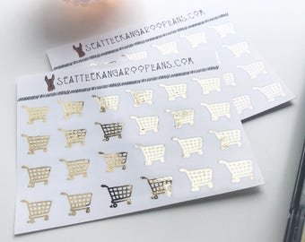 Gold Foil Shopping Stickers (24 Glossy Planner Stickers) || SeattleKangarooPlans