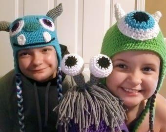 Crochet Monsters Inc Hats, Monsters Inc, Sully, Boo, Mike, Mike Wazowski, Hat, Beanie, Disney, Halloween, Costume
