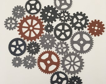 Gear/cog shaped cardboard cut-outs for scrapbooking and card making