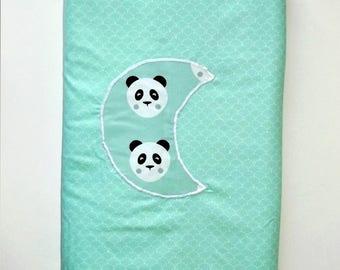 """Pandas"" /polaire watery green cotton baby blanket"