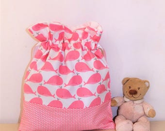 Pink baby blanket whales backpack