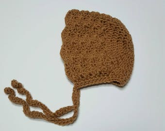 Ruffle Bonnet - Crochet Bonnet - Baby Girl - Baby Bonnet - Baby Accessories