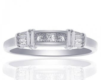 ON SALE 0.50 Carat Diamond Wedding Band 14K White Gold Ring