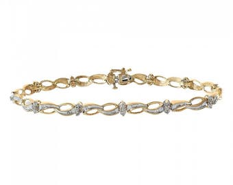 0.20 Carat Round And Baguette Cut Diamond Fancy Shaped Link 10K Yellow Gold Bracelet