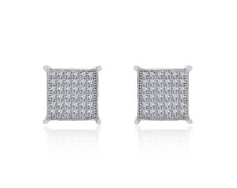 Sterling Silver White Cubic Zirconia Square Micropave Stud Earrings 10