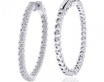 3.50 Carat Cubic Zirconia Inside/Outside Hoop Earrings In Platinum Over Silver