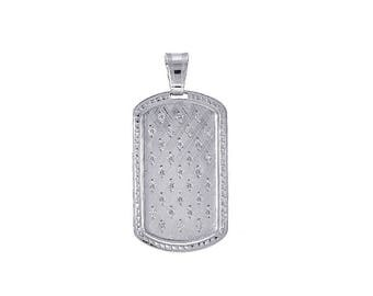0.35 Carat Diamond Dog Tag Pendant 38mm 14k White Gold