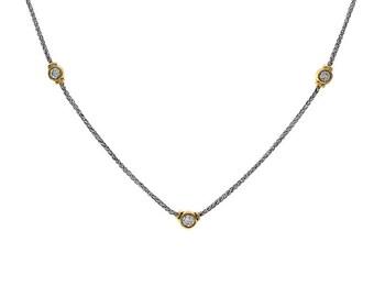 0.60 Carat Three Stone Diamond Bezel Necklace 18K Two Tone Gold
