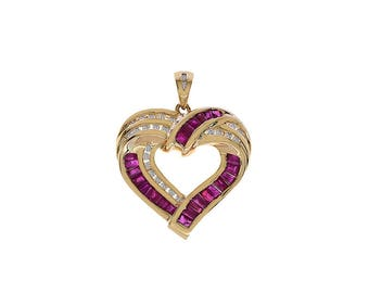 0.25 Carat Diamond with 1.50 Carat Ruby Vintage Heart Pendant 14K Yellow Gold