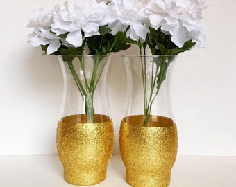 Set Of 2 Gold Dipped Vases,Wedding Centerpiece, Flower Vase,Gold Vases,Tall Vases,Wedding Vases, Baptism Centerpiece,Dipped Vases.