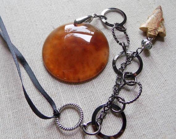 Boyfriend gift - rear view mirror sun catcher - dark brown agate -  men cave -  round gem -  silver fish - cowgirl charm  - arrowhead jasper