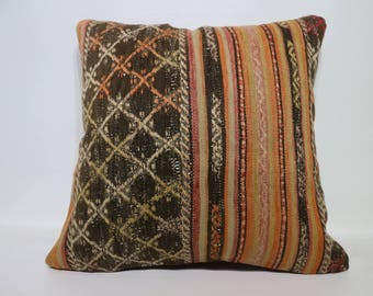 24x24 Kilim Pillow Large Floor Cushion 24x24 Bohemian Kilim Pillow Turkish Kilim Pillow Embroidered Kilim Pillow Naturel Pillow SP6060-1412