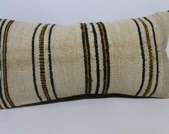 Bohemian Kilim Pillow Handwoven Kilim Pillow Throw Pillow 12x24 Lumbar Kilim Pillow Striped Kilim Pillow Cushion Cover  SP3060-1299