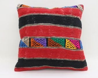 20x20 Striped Kilim Pillow Red and Black Pillow Ethnic Pillow 20x20 Handwoven Kilim Pillow Embroidery Kilim Pillow Cushion Cover SP5050-2689