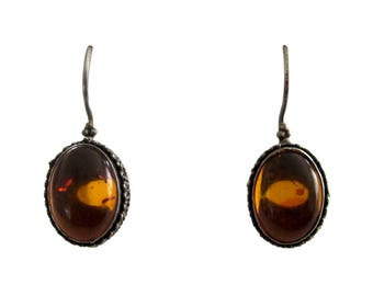 Vintage Sterling Silver & Baltic Amber Drop Earrings