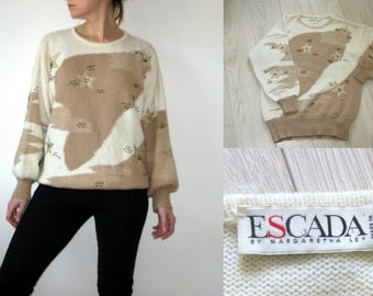 ESCADA Wool Sweater Long Beige Sweater Oversize Pullover