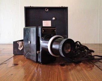 NOT TESTED Kodak 1940's Kodaslide Slide Projector Model 1 with Case - Movies, Films Camera Black Bakelite MidCentury Mid Century Photography