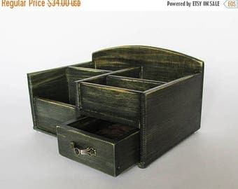 ON SALE Desk Organizer Office Organizer Pencil Cup Office Decor Caddy Tools Office Supplies Holder  Distressed Finish