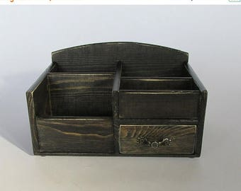 ON SALE Desk Organizer Office Organizer Pencil Cup Office Decor Caddy Tools Office Supplies Holder Home Decor Distressed Finish Ebony Color