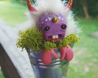 Polymer clay bucket monster sculpture ooak purple mossy no. 1